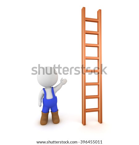 3D character wearing blue overalls showing a ladder. Isolated on white background.