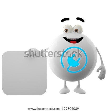 3D character, white button, smiley with symbol  blue electric plug, isolated on white background - stock photo