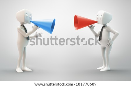 3D character with a colorful megaphone - communication concept - stock photo