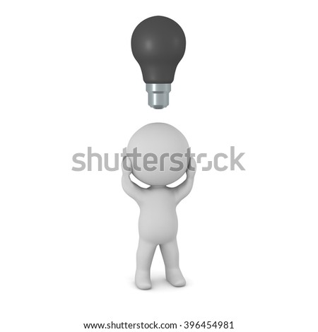 3D character with a dark light bulb above his head. No ideas concept. Creative block concept. Isolated on white background.