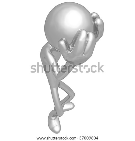 3D Character With A Headache - stock photo