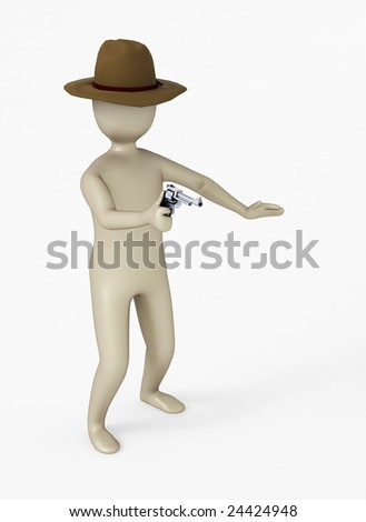 3D character with a six shooter - stock photo