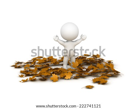 3D character with arms up standing in a pile of autumn leaves, isolated on white  - stock photo