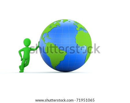 3d character with blue globe