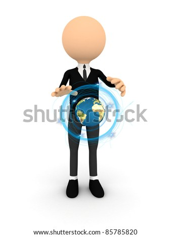 3d character with blue light ring over white - stock photo