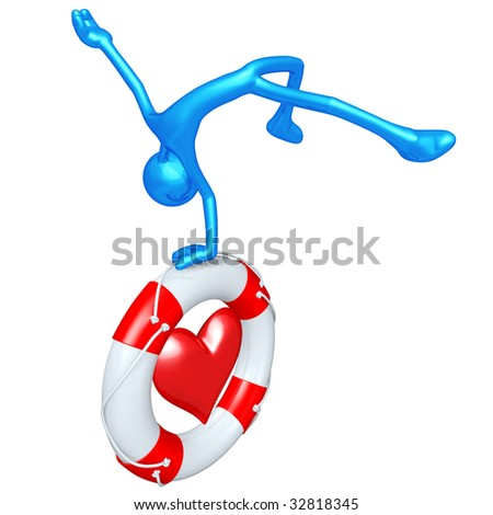 3D Character With Lifebuoy Heart - stock photo