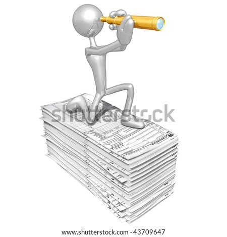 3D Character With Tax Forms - stock photo