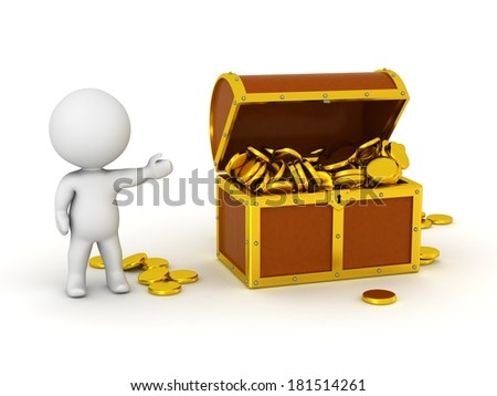 3D Character With Treasure Chest and Gold Coins - stock photo