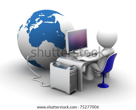 3d character Working on computer connectet to globe. Conceptual 3d illustration - stock photo