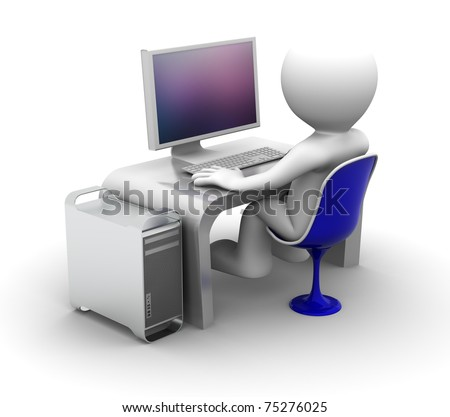 3d character Working on computer. On white background - stock photo