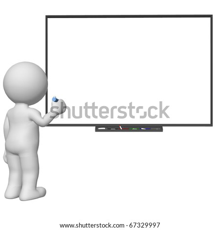 3d character writing on blank white board - stock photo