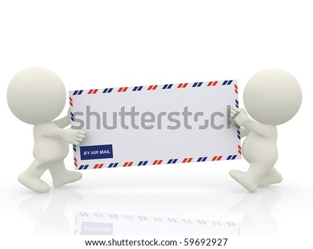3D characters carrying an envelope - isolated over a white background - stock photo
