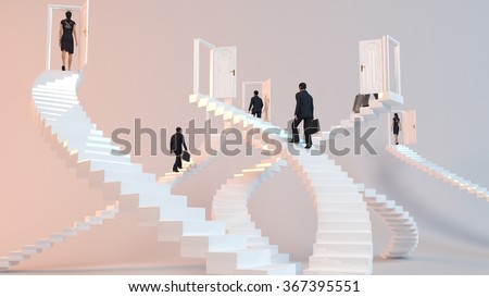 3D characters  go on the stairs to reach the goal or arrive to his destination  - stock photo
