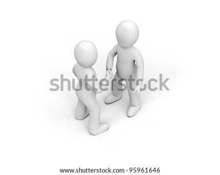 3D characters in ties shake hands - stock photo