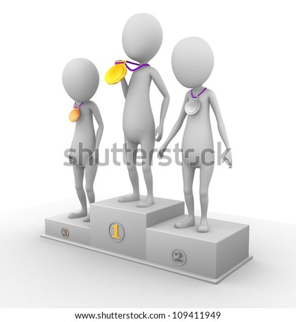 3D characters in won gold, silver and bronze medals