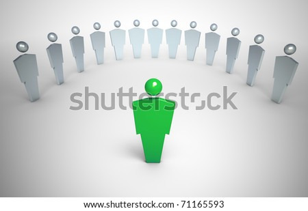 3D characters - leader concept illustration - stock photo
