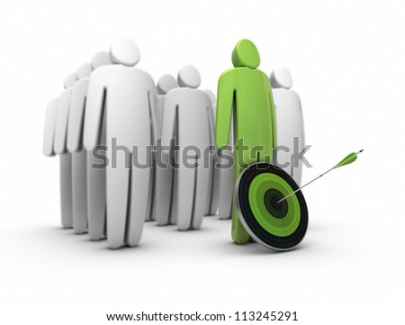 3d characters over a white background, at the foreground there is a target and one arrow hitting the center the first character is green. Blur effect. - stock photo