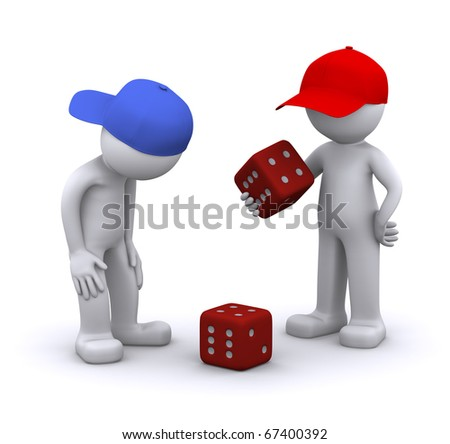 3d characters playing dice. Isolated - stock photo