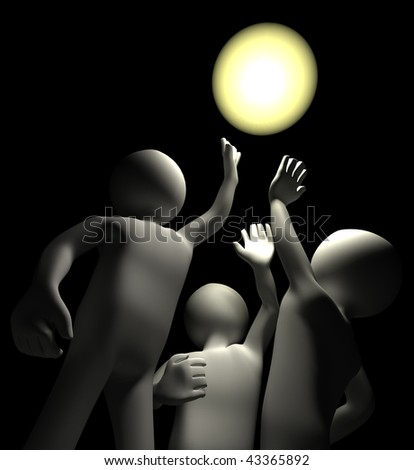 3d Characters reaching upwards for Light in darkness - stock photo