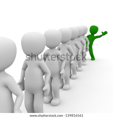 3D characters stand in a queue with a green man. - stock photo