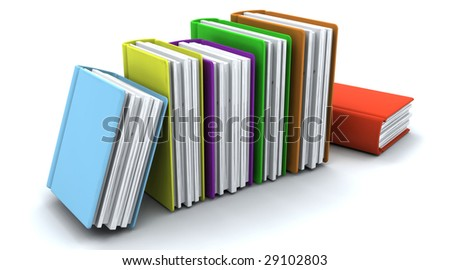 3d charicature render of a stack of  books on white