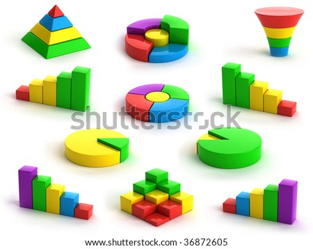 3d charts and graphs on white background - stock photo