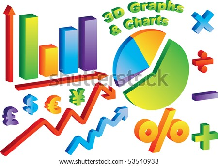3D Charts and Graphs with math and currency symbols - stock photo