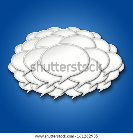 3D Chat Bubble Storm Cloud on Blue Gradient Background - stock photo