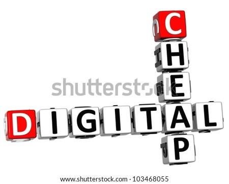 3D Cheap Digital Crossword on white background - stock photo