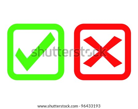 3d check and x symbol - stock photo