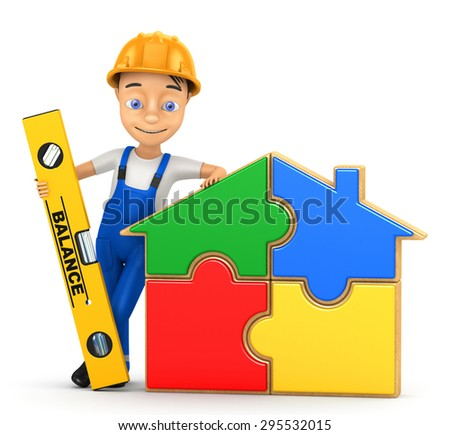 3d cheerful builder on a white background