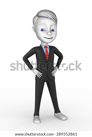 3d cheerful businessman on a white background - stock photo