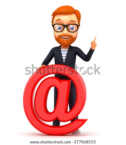 3d cheerful businesswoman points to an email on a white background - stock photo