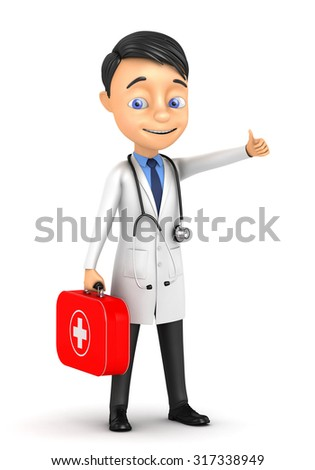 3d cheerful doctor standing on a white background - stock photo