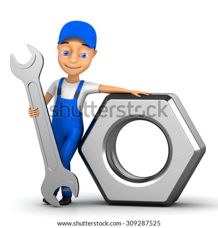 3d cheerful man on a white background - stock photo