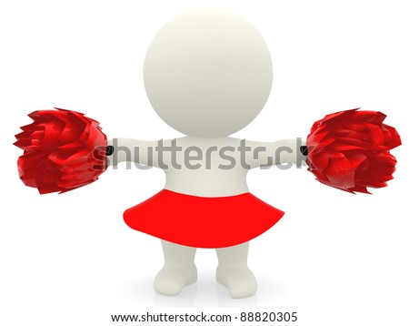 3D cheerleader with pompom - isolated over a white background - stock photo