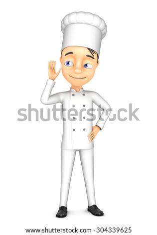 3d chef overheard recipe - stock photo