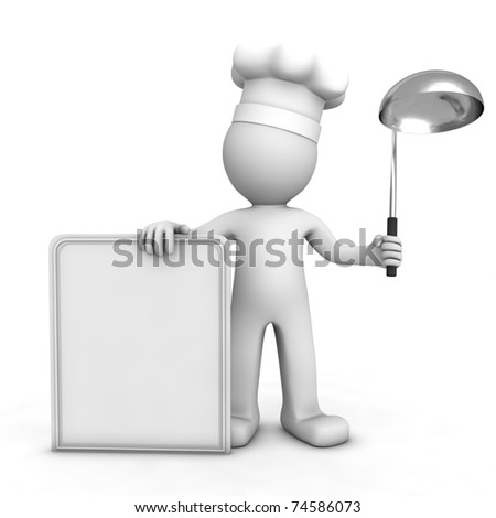 3D chef with blank menu board. Isolated