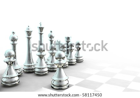 3d chess background - stock photo