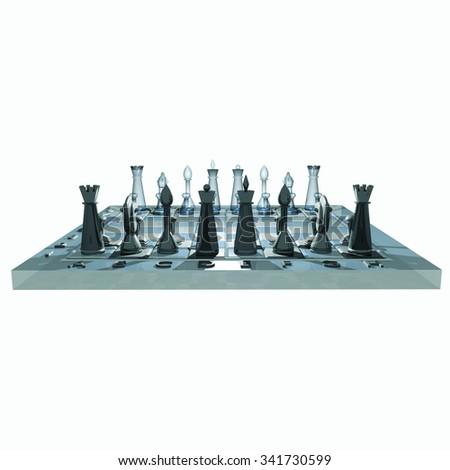 3D chess board - stock photo