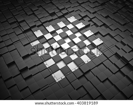 3d chess board. The concept design of futuristic checkerboard. An empty board for chess in modern style. - stock photo
