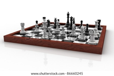 3D chess board with figures isolated on white background