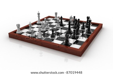 3D chess board with figures isolated on white background - stock photo