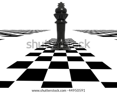 3d chess figure and chequer - stock photo