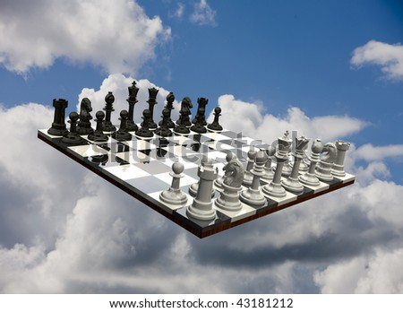 3D chess game flowing freely in a blue sky
