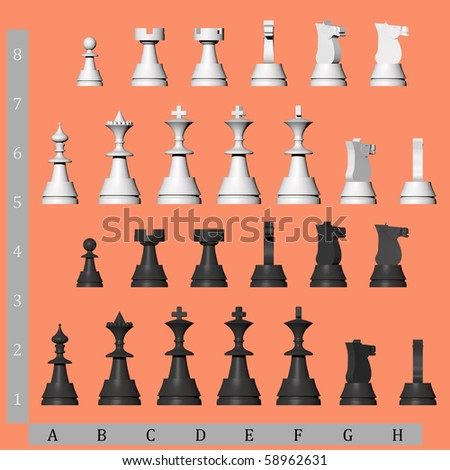 3D chess pieces from different views - stock photo