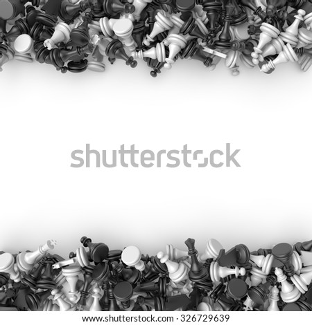 3d chess pieces scattered on the plane - stock photo