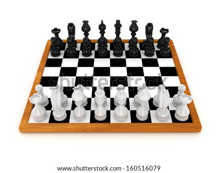 3d Chess Team Front View - isolated
