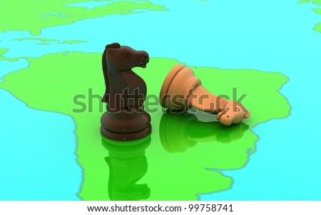 3D chess two horse concept on a world map - stock photo