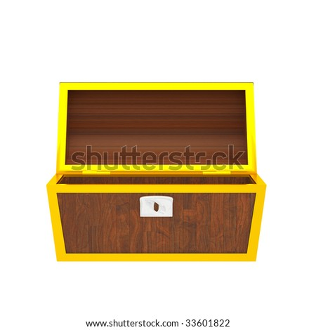 3D chest isolated on white.